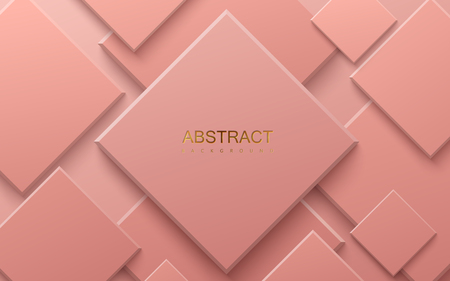 Coral paper cut background. Abstract realistic papercut decoration with random square layers. 3d backdrop. Vector illustration. Material design concept. Minimalist cover template Ilustração