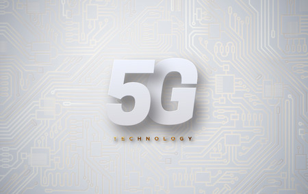 5G technology background with circuit board texture. Vector illustration. New generation of wireless high speed internet connection. Mobile network standart. Telecommunication concept