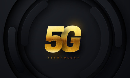 5G golden sign on black geometric background. Vector technology illustration. New generation of wireless high speed internet connection. Mobile network standart. Telecommunication concept Illustration