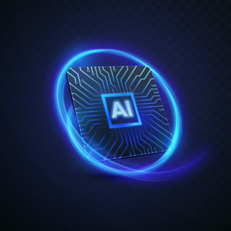Artificial intelligence concept. Vector 3d technology illustration of micro chip with circuit board pattern and neon light trail. AI processor design. Machine learning or neural network icon design