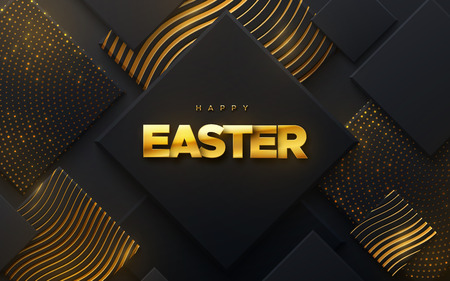 Happy Easter. Vector holiday illustration of golden sign on geometric black background textured with sparkling patterns. Cristian religion event. Festive banner. Modern cover design