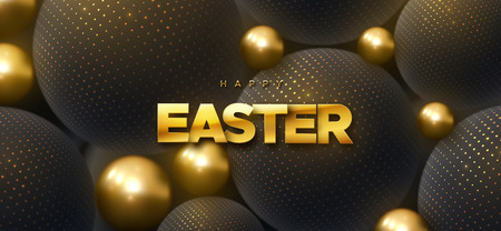 Happy Easter. Vector holiday illustration of golden sign on geometric black background textured with sparkling glitters. Cristian religion event. Festive banner. Modern cover design