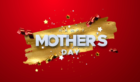 Happy Mothers Day. Vector holiday illustration of white paper label on golden paint stain background with glittering confetti particles. Realistic 3d banner. I love you mom. Holiday sale or offer sign