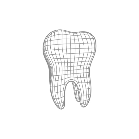 3d polygonal tooth isolated on white. Vector dentistry illustration. Medical or healthcare concept. Wire mesh icon