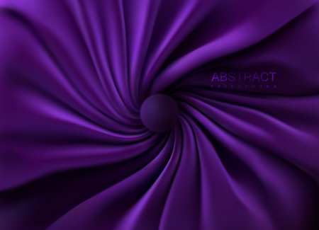 Purple silky fabric. Abstract background. Vector 3d illustration. Realistic swirled textile with folds and drapes. Decoration element for design