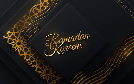 Ramadan Kareem. Vector islam religious illustration. Muslim holy month Ramadan postcard design. Black banner textured with geometric shapes and traditional golden girih pattern Illusztráció
