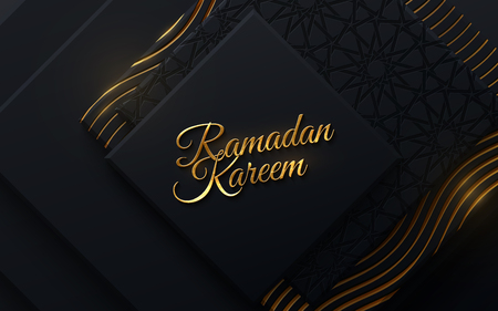 Ramadan Kareem. Vector islam religious illustration. Muslim holy month Ramadan postcard design. Black banner textured with geometric shapes and traditional girih pattern Stock Illustratie