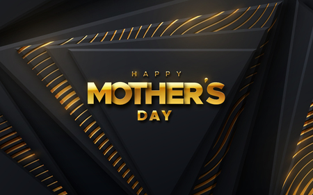Happy Mothers Day. Modern cover design. Vector holiday illustration. Ad banner design. Abstract background. Black geometric triangle shapes textured with golden wavy pattern. Layout design Illusztráció