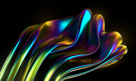 Iridescent squeezed shape. Vector 3d illustration. Abstract holographic background. Colorful graphic design trend. Multicolored gradient substance. Liquid neon colors leak. Modern cover template 일러스트