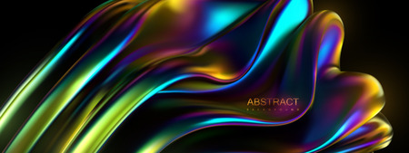 Iridescent wavy shape. Vector 3d illustration. Abstract holographic background. Colorful graphic design trend. Multicolored gradient viscous substance. Liquid neon color leak. Modern cover template