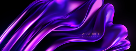 Violet melted shape. Vector 3d illustration. Abstract vivid background with smooth wavy structure. Colorful graphic design trend. Glossy purple substance. Modern cover template 일러스트