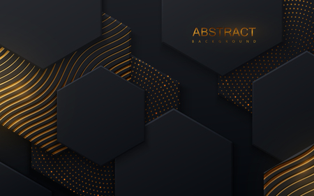 Black geometric tiles textured with golden shiny patterns. Modern cover design. Vector illustration. Ad banner. Abstract background. Minimal composition with hex shapes. Layout design