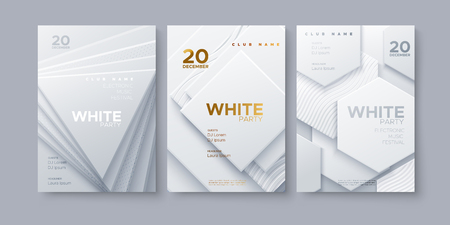Electronic music festival. Modern posters design. White party invitation. Abstract background. White geometric shapes. Vector illustration. Club invitation template.
