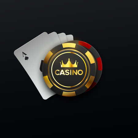 Casino sing. Vector illustration. Four playing cards and gambling chips with golden crown on black background. Casino banner concept. Illustration