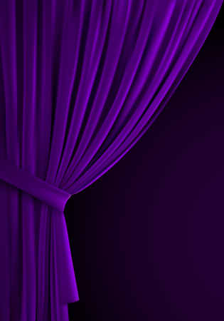 Purple curtain background. Realistic vector illustration. Textile drapes. Folded velvet fabric. Decoration element for design. Theater, cinema or home interior object