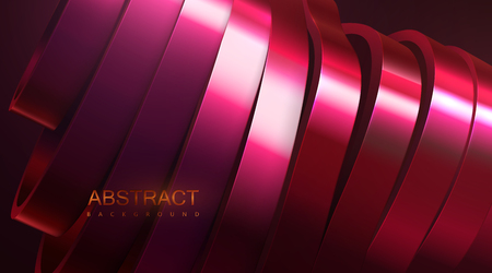 Sliced wavy surface. Vector futuristic illustration. Abstract background with red metallic shapes. 3d relief with curved ribbons. Decoration element. Modern cover design Ilustracja