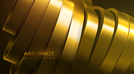 Sliced wavy surface. Vector futuristic illustration. Abstract background with golden metallic shapes. 3d relief with curved ribbons. Decoration element. Modern cover design