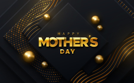 Happy Mothers Day. Vector holiday illustration of golden label on black geometric background with shimmering glitters and spheres. Realistic 3d banner. I love you mom. Holiday sale or offer sign