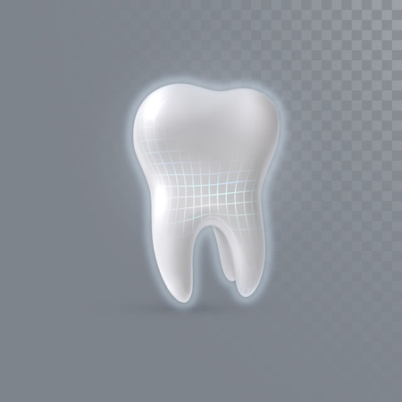 Realistic 3d tooth with shiny wireframe structure isolated on transparent background. Vector dentistry illustration. Medical or healthcare concept. Toothpaste ads poster design element