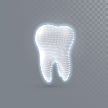 Realistic 3d tooth with shiny particles structure isolated on transparent background. Vector dentistry illustration. Medical or healthcare concept. Toothpaste ads poster design element