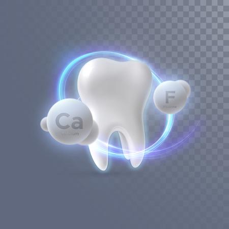 Realistyczny ząb 3d z cząsteczkami wapnia i fluoru na przezroczystym tle. Ilustracja wektorowa stomatologii. Pojęcie medyczne lub opieki zdrowotnej. Ochrona zębów. Element projektu reklamy pasty do zębów
