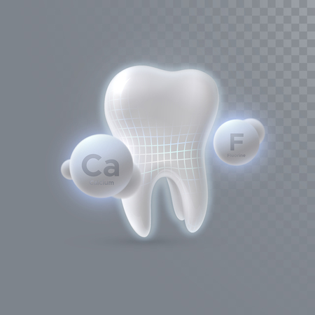 Realistic 3d tooth with calcium and fluorine particles isolated on transparent background. Vector dentistry illustration. Medical or healthcare concept. Teeth protection. Toothpaste ads design element Illustration