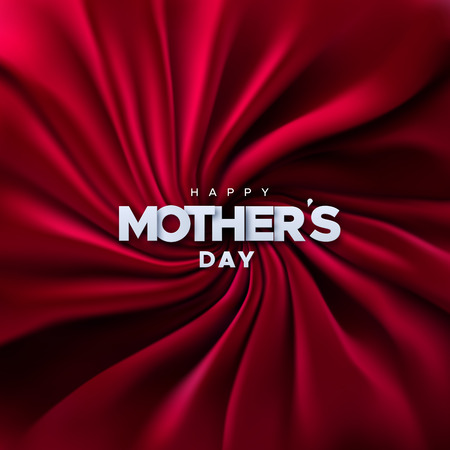 Happy Mothers Day. Vector holiday illustration of white paper label on red velvet fabric background. Realistic 3d banner. I love you mom. Holiday sale or offer sign