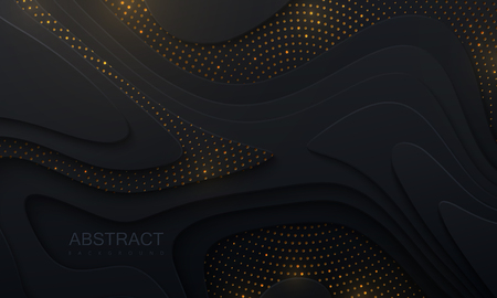 Black paper cut background. Abstract realistic papercut decoration with wavy layers and golden glitters. 3d topography relief. Vector topographic illustration. Cover layout template.
