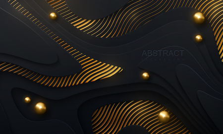 Black paper cut background. Abstract realistic papercut decoration with wavy layers, spheres and golden engraved pattern. 3d topography relief. Vector topographic illustration. Cover layout template.
