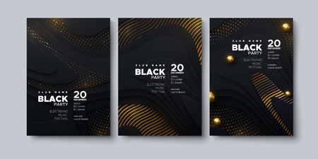 Electronic music festival. Modern posters design. Black party invitation. Abstract background. Black geometric wavy shapes, golden glitters and spheres. Vector illustration. Club invitation template.