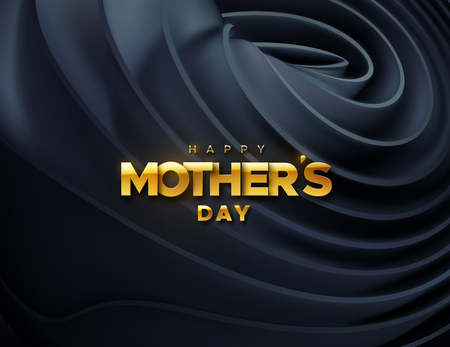 Happy Mothers Day. Vector holiday illustration of golden label on black velvet fabric background. Realistic 3d banner. I love you mom. Holiday sign Ilustracja
