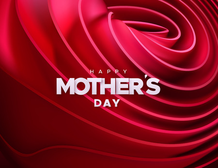 Happy Mothers Day. Vector holiday illustration of white label on red velvet fabric rolled background. Realistic 3d banner. I love you mom. Holiday sign