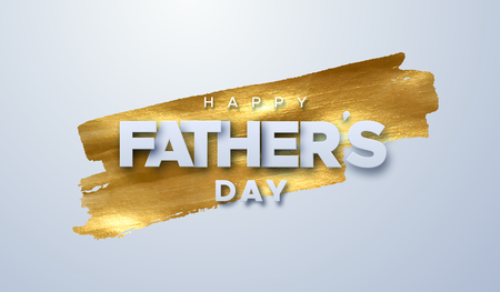 Happy Fathers Day. Vector holiday illustration of white paper label on golden paint stain background. Realistic 3d banner. I love you dad. Holiday sale or offer sign