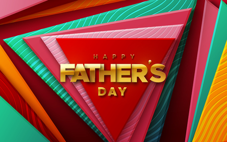 Happy Fathers Day. Vector holiday illustration of golden label on colorful geometric background. Realistic 3d banner. I love you dad. Holiday sale or offer sign