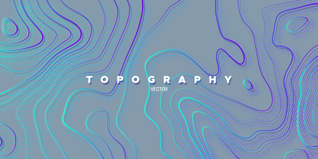 Topography relief. Abstract memphis background. Vector minimal illustration. Liquid gradients. Outline cartography landscape. Modern poster design. Trendy cover with wavy colorful lines