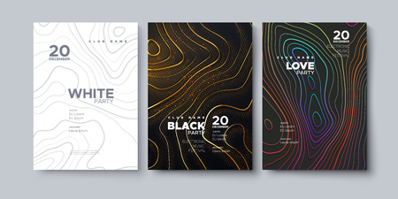 Electronic music festival. Modern posters design. White party invitation. Black party banner. Abstract background with wavy topography lines. Vector illustration. Club promotion sign template. Illustration