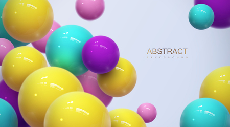 Abstract background with dynamic 3d spheres. Plastic colorful bubbles. Vector illustration of glossy balls. Modern trendy banner or poster design Illustration