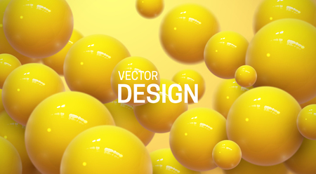 Abstract background with dynamic 3d spheres. Plastic yellow bubbles. Vector illustration of glossy balls. Modern trendy banner or poster design Ilustracja