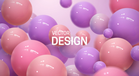 Abstract background with dynamic 3d spheres. Plastic colorful bubbles. Vector illustration of glossy balls. Bouncing particles. Modern trendy banner or poster design