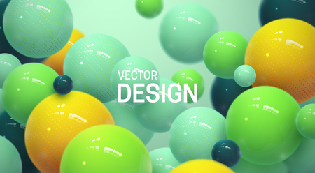 Abstract background with dynamic 3d spheres. Plastic colorful bubbles. Vector illustration of glossy balls. Modern trendy banner or poster design Illusztráció