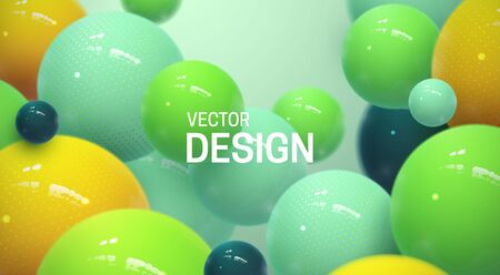 Abstract background with dynamic 3d spheres. Plastic bright bubbles. Vector illustration of glossy balls. Modern trendy banner or poster design