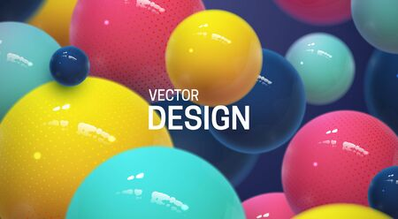 Abstract background with dynamic 3d spheres. Plastic colorful bubbles. Vector illustration of glossy balls. Modern trendy banner or poster design Ilustracja