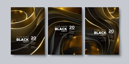 Electronic music festival. Modern posters design. Black party invitation. Abstract background. Black and golden geometric wavy shape or ribbons. Vector 3d illustration. Club invitation template. Ilustracja