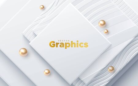Elegant cover design. Minimal composition with geometric shapes. Vector 3d illustration. White squares textured with wavy patterns and golden beads. Abstract background. Layered paper decoration