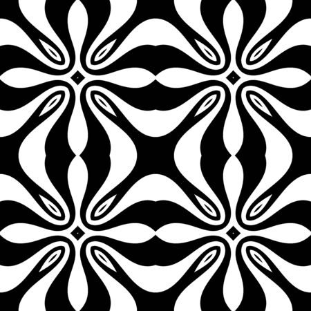 Seamles monochrome pattern. Vector illustration. Abstract geometric background. Decorative element for fabric or wrapping paper design Ilustracja