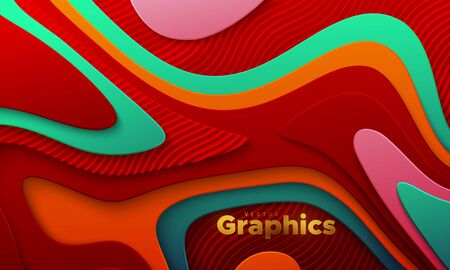Multicolored paper cut background. Abstract realistic papercut decoration with wavy layers and engraved wavy pattern. 3d topography relief. Vector topographic illustration. Cover layout template.