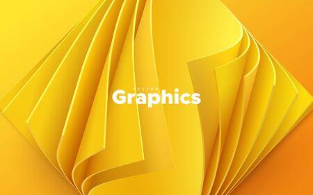 Fondo de corte de papel amarillo. Decoración de papercut realista abstracta texturizada con capas onduladas. Hojas de papel naranja con esquinas curvadas. Ilustración vectorial. Plantilla de diseño de portada.