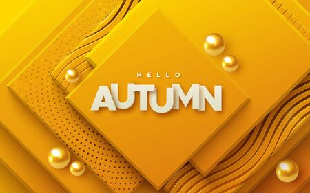 Hello autumn. Modern cover design. Vector seasonal 3d illustration. Abstract background with orange geometric planes textured with golden patterns and spheres. Minimal composition with square shapes