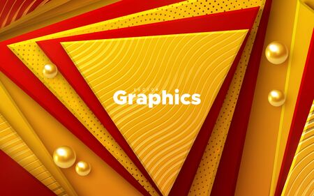 Elegant cover design. Minimal composition with geometric shapes. Vector 3d illustration. Orange and red triangles textured with wavy pattern. Abstract colorful background. Layered paper decoration Ilustração