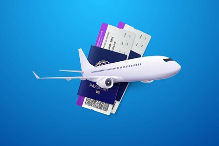 Vector 3d illustration of passports, boarding passes and airplane. Travel concept. Booking service or travel agency sign. Air transportation. Flight tickets. Advertising banner. Ilustracja